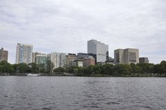 Boston Skyline from Charles river Cruise in Massachusettes State of USA Royalty Free Stock Photos