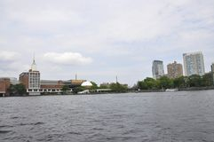 Boston Skyline from Charles river Cruise in Massachusettes State of USA Stock Photography