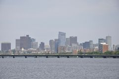 Boston Skyline from Charles River in Massachusettes State of USA royalty free stock photos