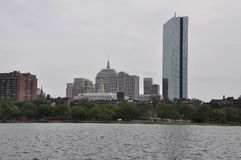 Boston Skyline from Charles River in Massachusettes State of USA stock photography