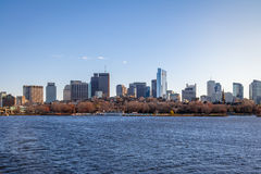 Boston skyline and Charles River seen from Cambridge - Massachusetts, USA Royalty Free Stock Photo