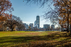 Boston skyline and Charles River seen from MIT in Cambridge - Massachusetts, USA Royalty Free Stock Image