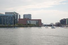 Boston skyline and cityscape from the harbor Royalty Free Stock Image
