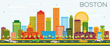 Boston Skyline with Color Buildings and Blue Sky. Vector Illustration. Business Travel and Tourism Concept with Modern Buildings. Image for Presentation Banner Royalty Free Stock Photo