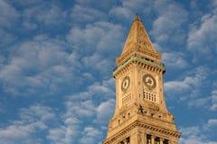 Boston Skyline and Custom House at Sunrise Royalty Free Stock Photos