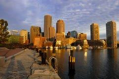 Boston skyline at dawn. Boston harbor skyline at dawn royalty free stock photo
