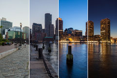 Boston skyline day to night montage - Massachusetts - USA - Unit Royalty Free Stock Images