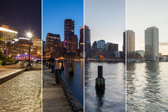 Boston skyline day to night montage - Massachusetts - USA - Unit Stock Images