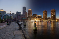 Boston skyline day to night montage - Massachusetts - USA - Unit Royalty Free Stock Photos