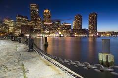 Boston, skyline de Boston no por do sol Fotografia de Stock Royalty Free