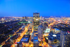 Boston skyline at dusk. Boston aerial view with skyscrapers at dusk with city skyline illuminated stock photos