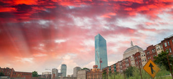 Boston skyline at dusk, MA Royalty Free Stock Images