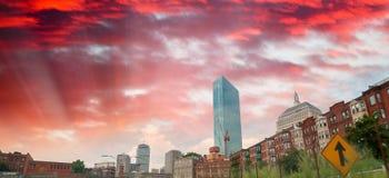 Boston skyline at dusk, MA Royalty Free Stock Images