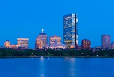 Boston skyline at dusk. Office buildings in Back Bay. Urban panorama in the evening. Massachusetts, USA Royalty Free Stock Photos