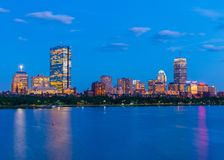 Boston skyline at the evening. Skyscrapers and office buildings in Back Bay Stock Photo