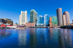 Boston skyline from Fan Pier sunlight Massachusetts Royalty Free Stock Images