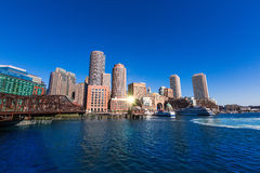 Boston skyline from Fan Pier sunlight Massachusetts Stock Photography
