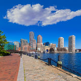Boston skyline from Fan Pier sunlight Massachusetts Stock Photo