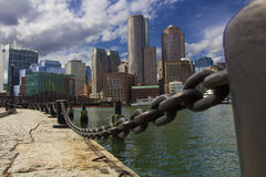 Boston Skyline with Financial District and Boston Harbor. Summer day, Boston Harbor, MA, 2014 royalty free stock photo