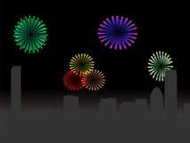 Boston skyline with fireworks. Boston skyline with colourful fireworks illustration Stock Image