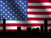 Boston skyline with Flag Royalty Free Stock Image
