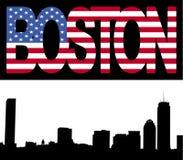 Boston skyline with flag text Royalty Free Stock Photos