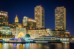 The Boston skyline and Fort Point Channel at night, in Boston, M Stock Photos