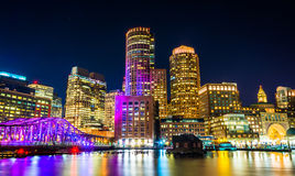 The Boston skyline and Fort Point Channel at night from Fan Pier Royalty Free Stock Images