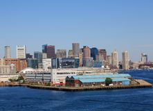 Boston Skyline From Harbor. Boston Skyline From Freight Harbor stock photos