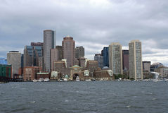 Boston skyline from harbor Stock Images