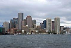 Boston skyline from harbor Stock Images