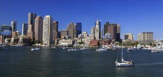 Boston skyline and harbor Royalty Free Stock Photos