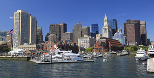 Boston skyline and harbor royalty free stock photo