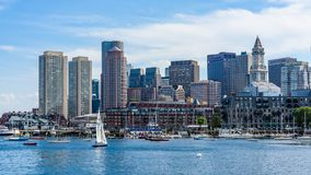 Boston skyline and harbour. View of the waterfront and the harbour of Boston, Massachusetts Royalty Free Stock Image