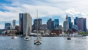 Boston skyline and harbour. View of the waterfront and the harbour of Boston, Massachusetts stock photo