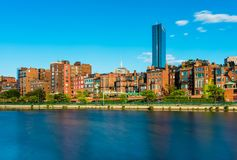 Boston skyline with historic buildings in Back Bay, USA. Boston skyline with historic buildings in Back Bay district, view from the Charles River stock photos