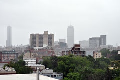 Boston skyline during Hurricane Irene Royalty Free Stock Photography