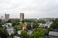 Boston skyline during Hurricane Irene Stock Image