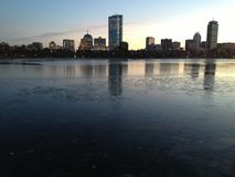 Boston Skyline on Ice Stock Photography
