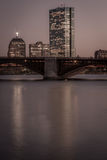 Boston skyline and the Longfellow bridge at night Royalty Free Stock Photo