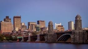 Boston skyline and the Longfellow bridge during sunset Royalty Free Stock Photo