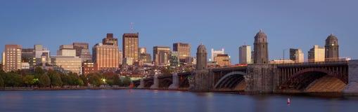 Boston skyline and the Longfellow bridge during sunset Stock Photos
