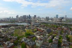Boston Skyline, Massachusetts, USA. Boston City Skyline aerial view including Custom House and Financial District skyscrapers, from the top of Bunker Hill royalty free stock photography