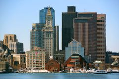 Boston Skyline, Massachusetts, USA. Boston City Skyscrapers, Custom House and Boston Waterfront from East Boston, Boston, Massachusetts, USA royalty free stock images
