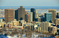 Boston Skyline, Massachusetts, USA. Boston Custom House and Financial district in winter, from top of Prudential Center, Boston, Massachusetts, USA stock image