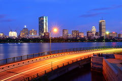 Boston Skyline and Memorial Drive Royalty Free Stock Photos