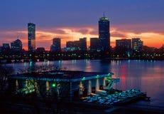 Boston skyline and MIT boathouse. MIT's Pierce Boathouse and Boston's Back Bay stock images