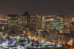 Boston-Skyline nachts, Massachusetts, USA Lizenzfreie Stockfotos