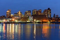 Boston-Skyline nachts, Massachusetts, USA Lizenzfreies Stockfoto