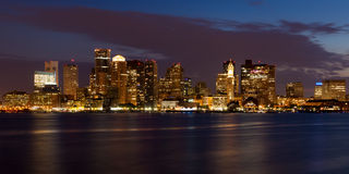 Boston skyline by night Stock Images